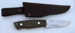 EnZo, Trapper 95, N690Co Steel, Green Canvas Micarta, Scandi