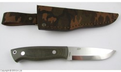 EnZo, Trapper 95, N690Co Steel, Green Canvas Micarta, Scandi, Camo Sheath