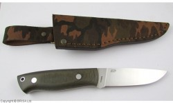 EnZo, Trapper 95, N690Co Steel, Green Canvas Micarta, Flat, Camo Sheath